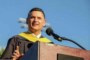 Shelton Public Schools Superintendent Kenneth Saranich addresses the audience at Finn Stadium during graduation for the Class of 2021 on June 16, 2021.