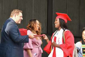 Bridgeport's Central High School held its graduation at the Hartford HealthCare Amphitheater in Bridgeport on June 16, 2021.