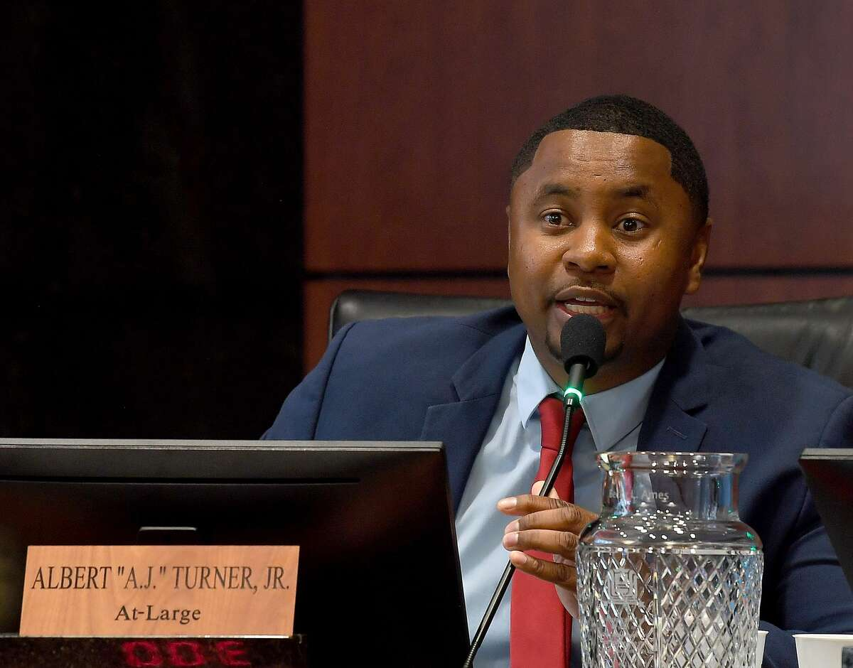 A.J. Turner poses a question during debate concerning riverfront development and the proposal for the city to purchase the AT&T building during Beaumont's City Council meeting Tuesday. Ultimately, owner TomFlanagan agreed to a proposed extension of the vote as requested by Mayor Becky Ames following passionate discussion on both sides by area residents. Photo made Tuesday, June 15, 2021 Kim Brent/The Enterprise