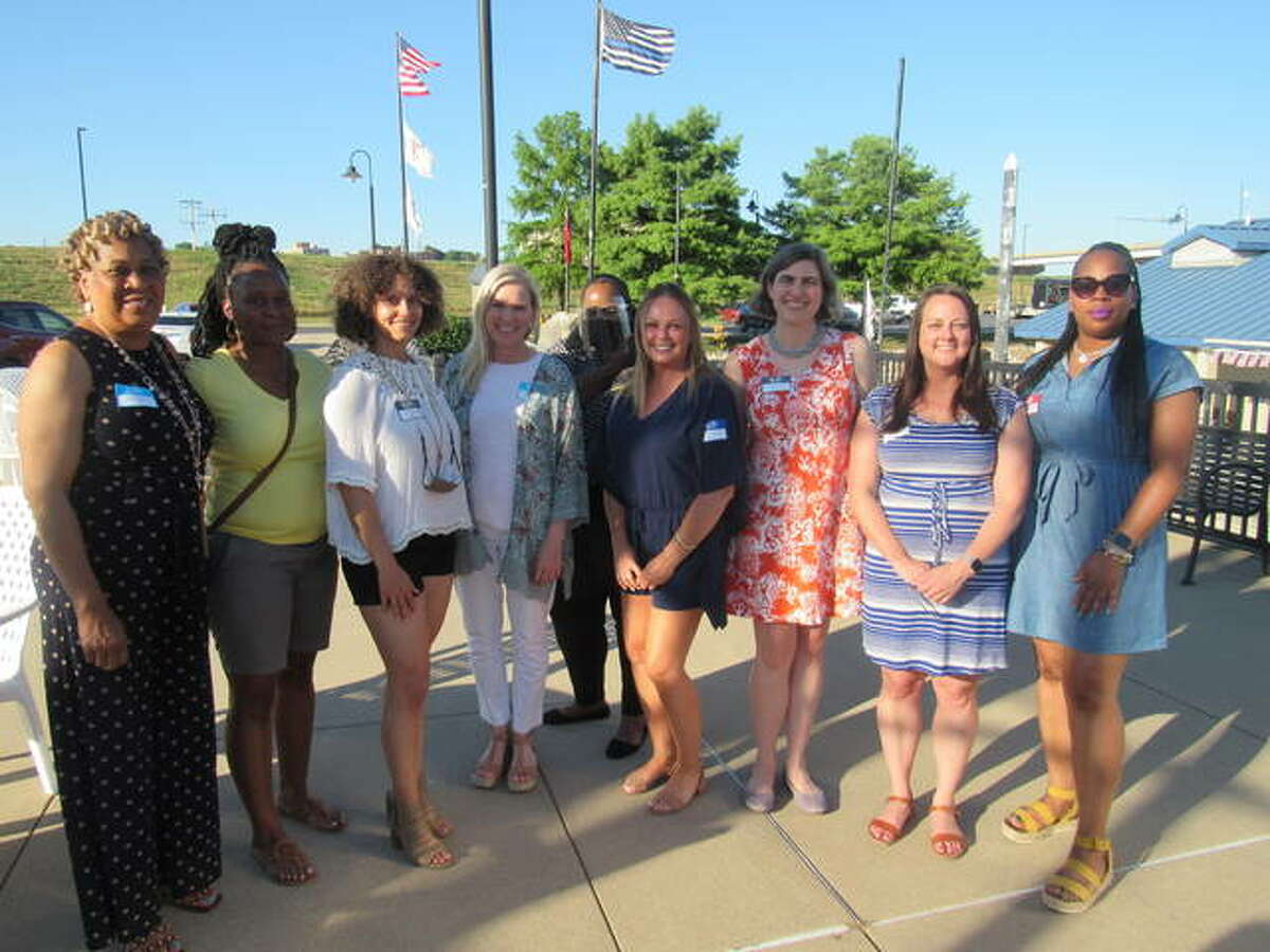 The YWCA of Alton 2021 Women of Distinction honorees are, named publicly for the first time Wednesday evening, left to right, Marie Nelson, Sandra West, Trish Holmes, Lanea DeCocini, Cameo Holland, Jennifer Gottlob, Lacy Spraggins McDonald, Crystal Uhe and Yvonne Campbell. Not pictured are Amy Gabriel, Carrie Schildroth, Savanna Bishop, Starrette Smith, Leah Becoat and Katie Stuart.