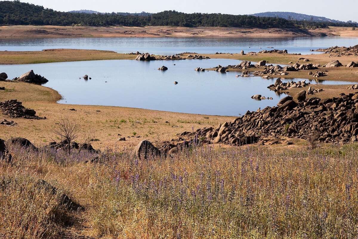 Drought-stricken Folsom Lake, where surveyors have discovered the remnants of a 1986 plane crash. The reservoir, shown here on May 5, 2021, is currently at 37 percent of normal capacity.