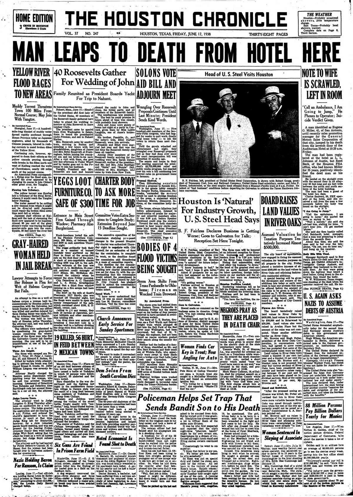 Houston Chronicle front page for June 17, 1938.