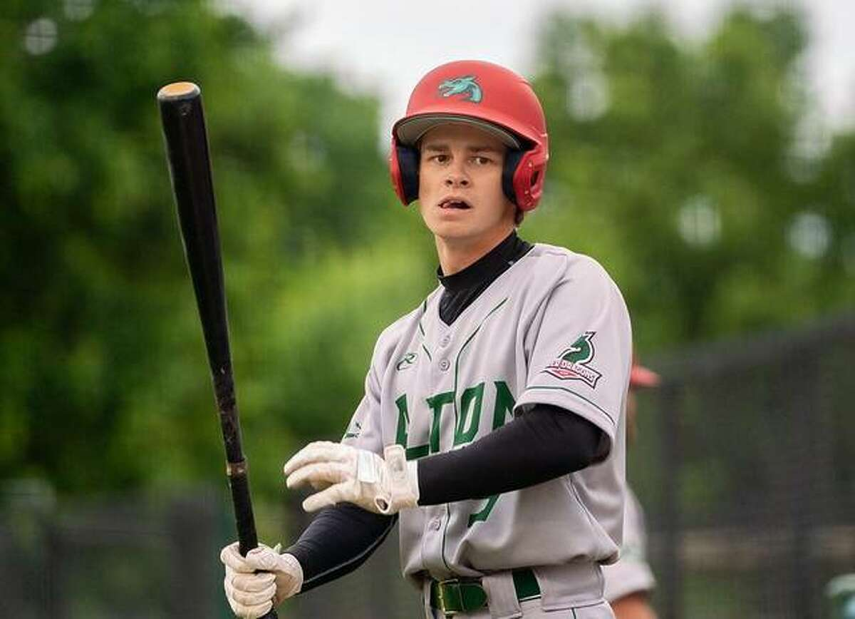Blake Burris of the Alton River Dragons is a product of LCCC and Edwardsville High. He hit the River Dragons' first home run in the team's first home game at Lloyd Hopkins Field in Alton.