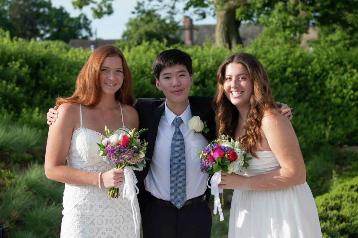Wilton residents, from left, Marygrace DelliSanti, Daniel Hong, and Maeve Reynolds recently graduated from Greens Farms Academy on Thursday, June 10, 2021. During the Class Day awards ceremony before commencement, Dellisanti received the Barbara Hellwig Rose Outstanding Athlete Award, and Reynolds received the Francis Burr Hardon award for outstanding citizenship.