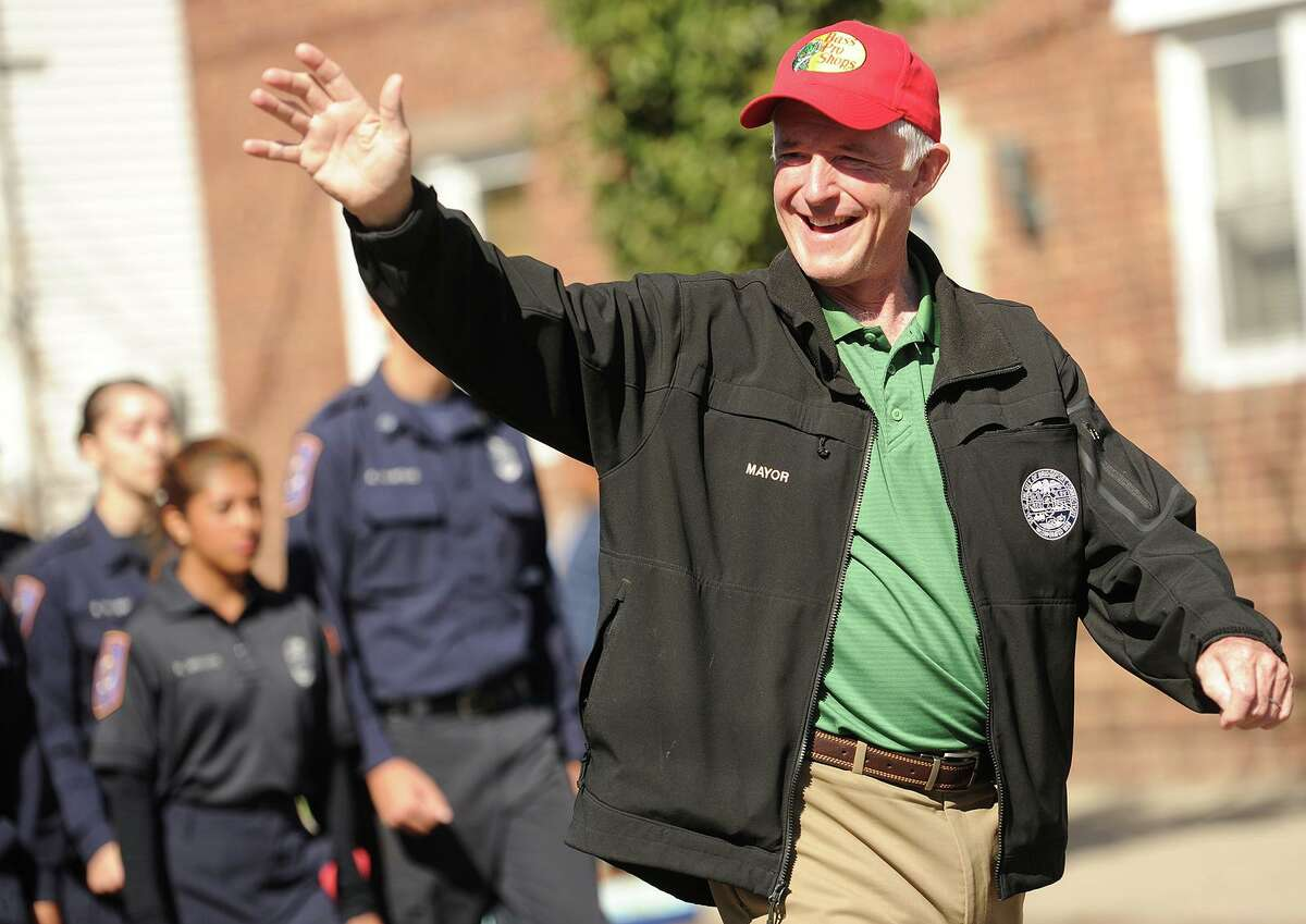 Bridgeport's then-Mayor Bill Finch marches in the 2015 Columbus Day Parade on Madison Avenue in Bridgeport.