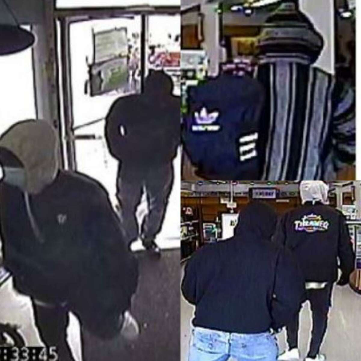 Images from Jan. 26 surveillance video at a pawn shop on Rayford Road in Spring show suspects in an armed robbery.