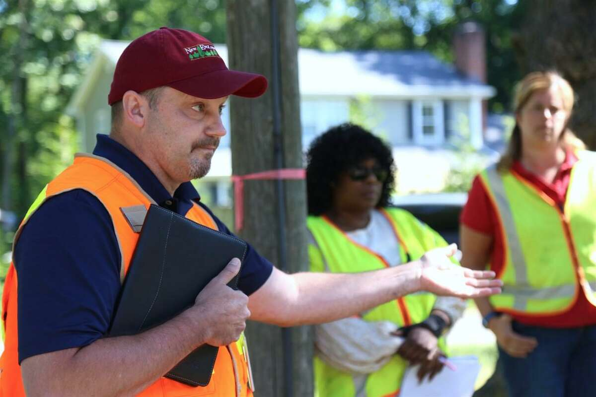 Sean Redding, manager of vegetation management with Eversource, explains the dangers of arcing and why the utility had to do emergency tree pruning on June 11, 2021.