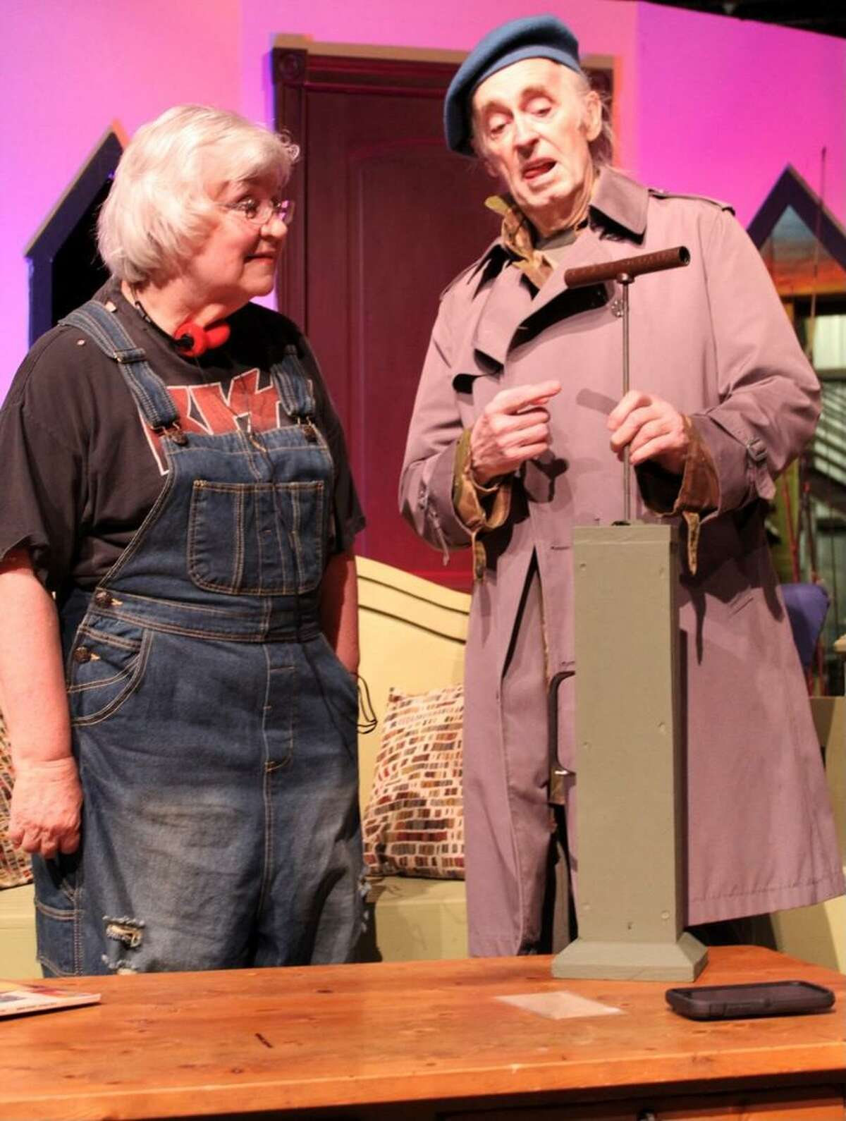 """Kaye Thompson as Betty Meeks and Jon Kiser as Froggy in The Players Theatre Company's """"The Foreigner"""" opening at the Owen Theatre June 25."""