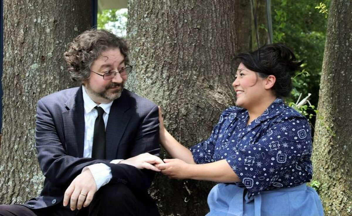 """Shawn Havranek as Charlie and Amanda Gutierrez as Catherine in The Players Theatre Company's """"The Foreigner."""""""