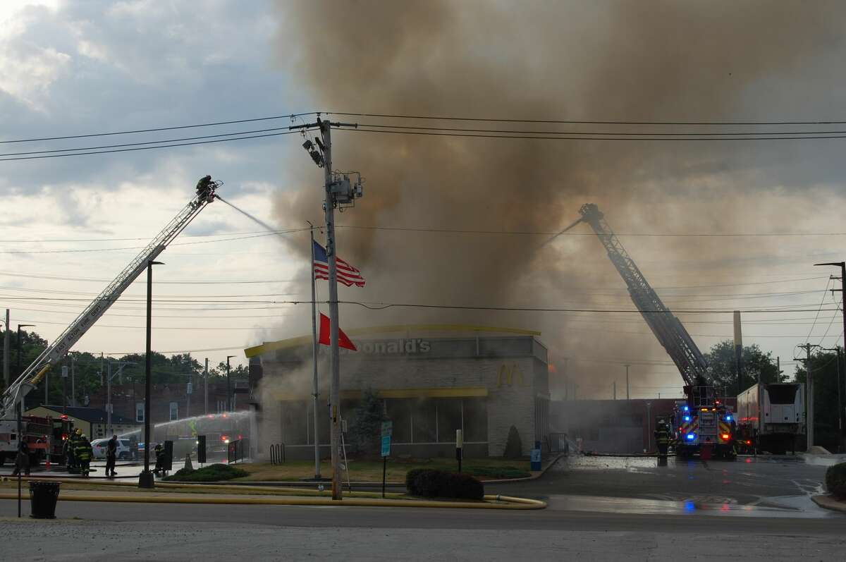 The Alton McDonalds at Ridge and Broadway caught fire Thursday morning. No one was inside at the time.