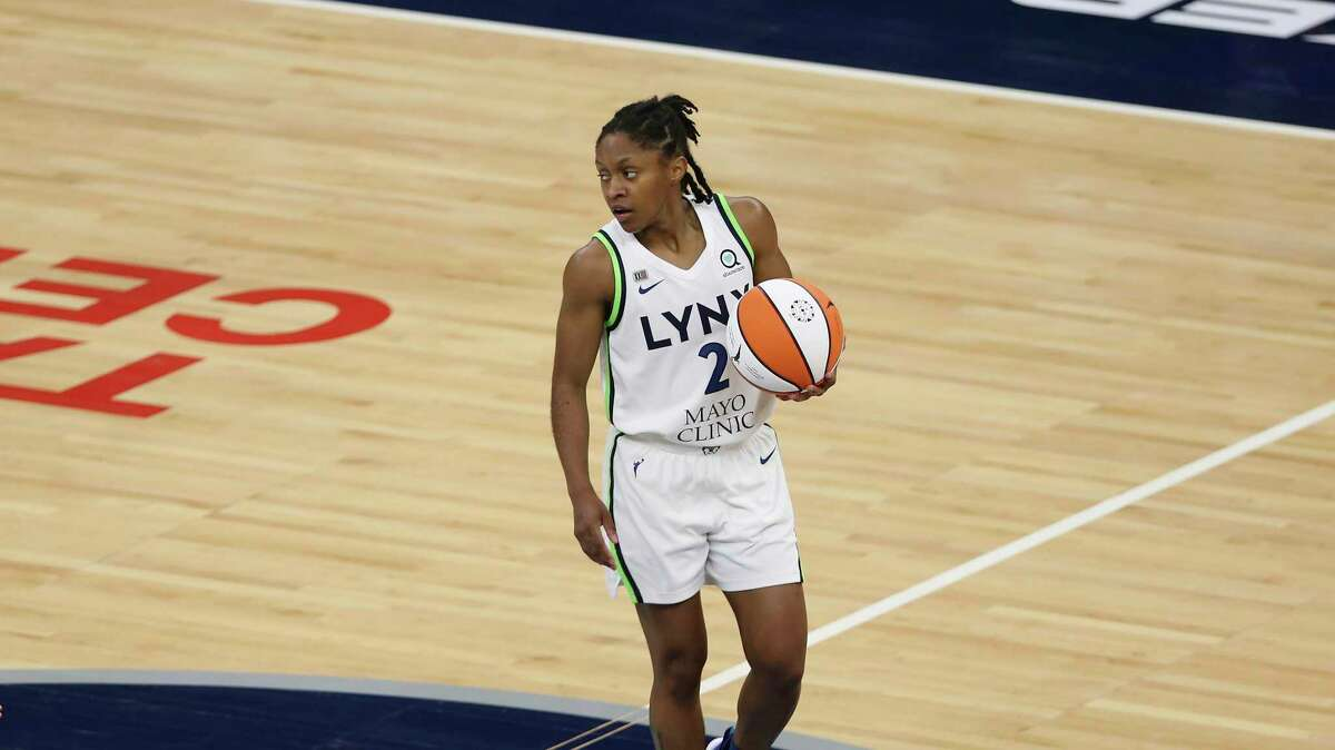 Minnesota Lynx guard Crystal Dangerfield (2) during the second half of a WNBA basketball game against the Chicago Sky, Tuesday, June 15, 2021, in Minneapolis. Chicago won 105-89.