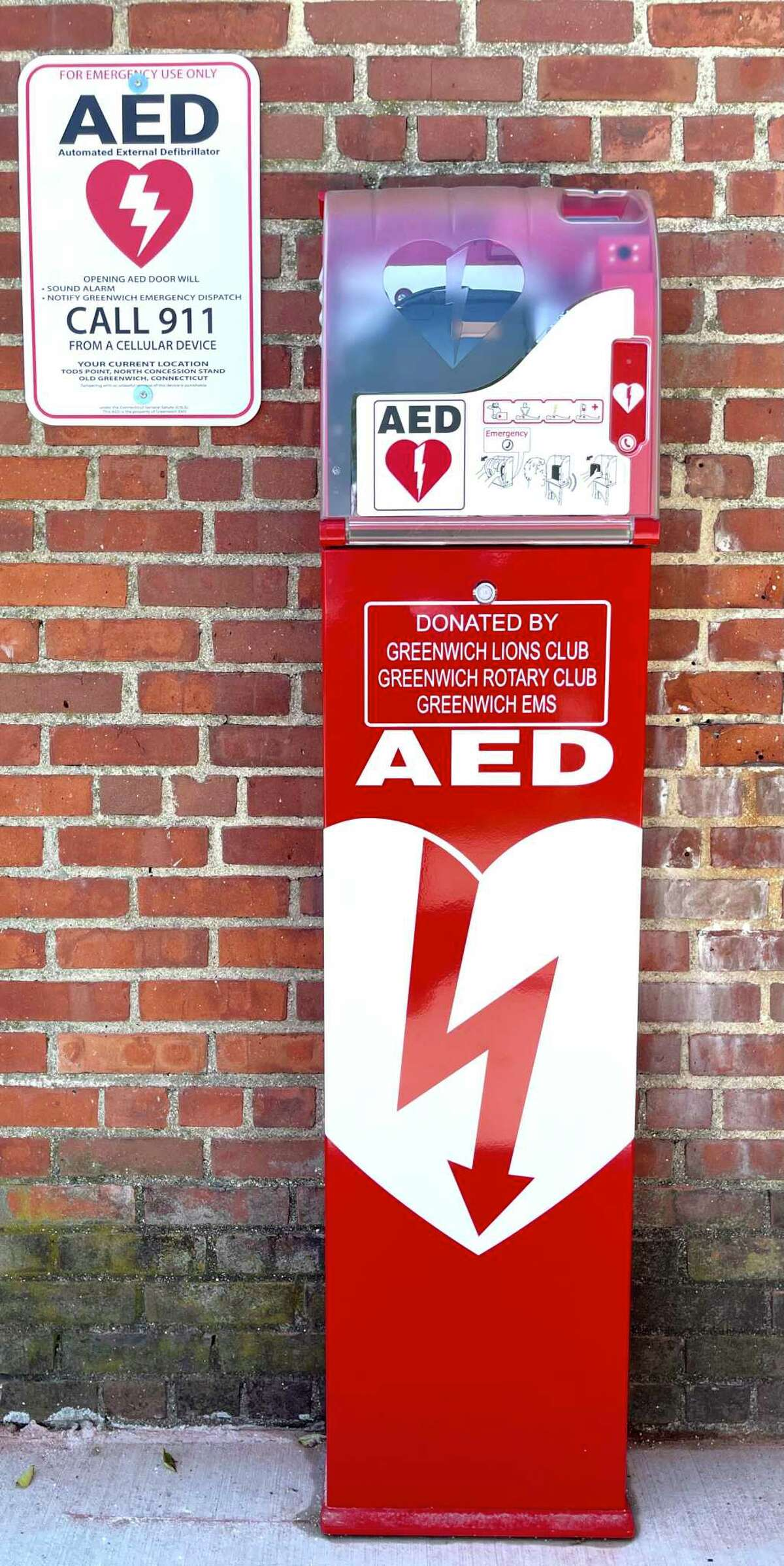 Greenwich Emergency Medical Service, with the help of two other organizations in town, recently purchased the third public-access AED placed at Greenwich Point. GEMS leaders said they're following a recommendation from the American Heart Association, which advises that an AED be placed within a three-minute walk from where any cardiac arrest incident could occur.