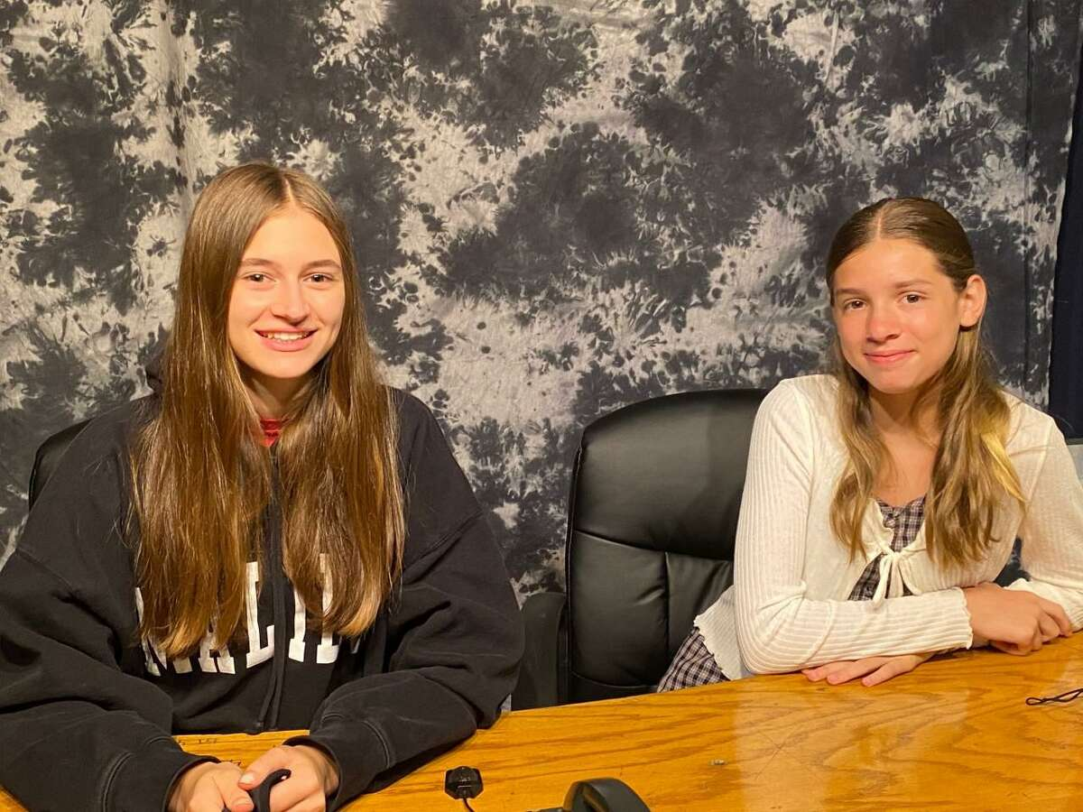 Shelton students Daniella Berry, Marissa Manzo, Ethan Oko, Padin Larkin and Olivia Jansen earned the Fox61 CT Creative Futures Award for their news broadcast on Center Stage Theatre. Pictured are Berry and Jansen.