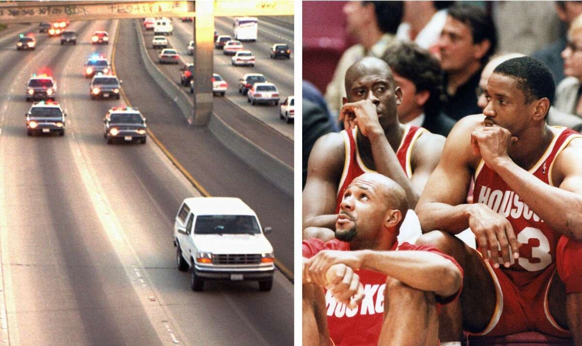 On June 17, 1994, O.J. Simpson was in a slow speed police chase while the Rockets were playing the Knicks in Game 5 of the NBA Finals.