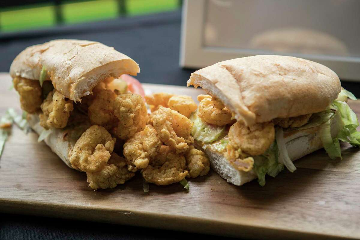 BB's shrimp po boy is shown during the What's New at NRG Stadium event on Thursday, Aug. 15, 2019 in Houston .