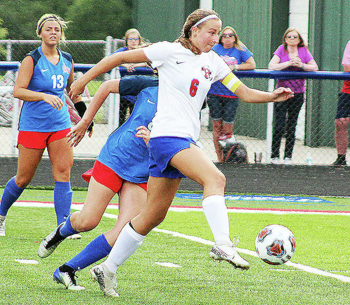 Roxana's Macie Lucas, who scored 17 goals and added 17 assists this season, will move on to play next season at Columbia College. She is shown in action against Carlinville.