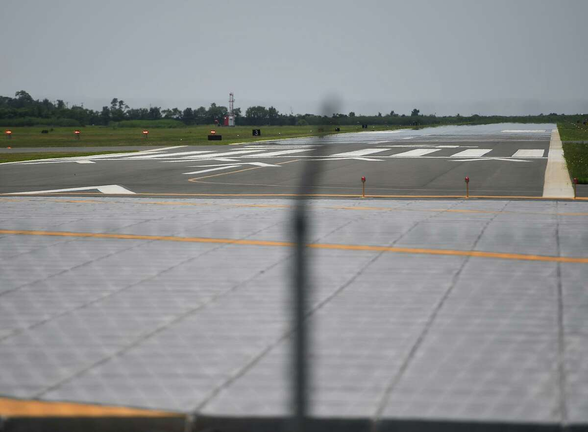 A file photo of an airport runway in Connecticut.