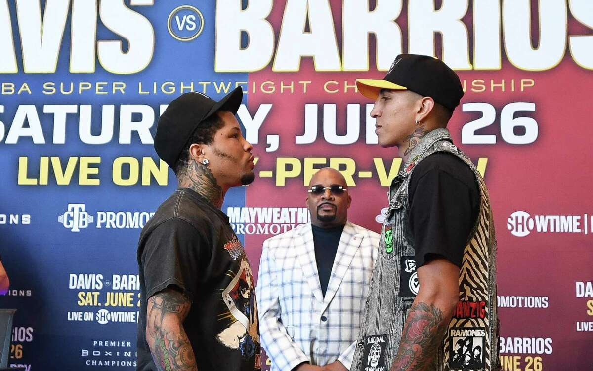 Gervonta Davis, Leonard Ellerbe and Mario Barrios attend a Press Conference for the WBA Super Lightweight Championship at State Farm Arena on May 20, 2021 in Atlanta.
