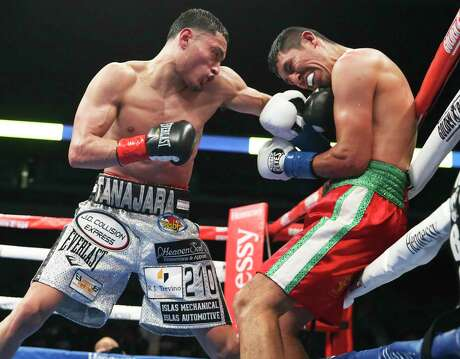 Hector Tanajara Jr. connects with a left in his January 2020 win over Juan Carlos Burgos at the Alamodome. He'll take on William Zepeda in a battle of undefeated lightweights July 9.