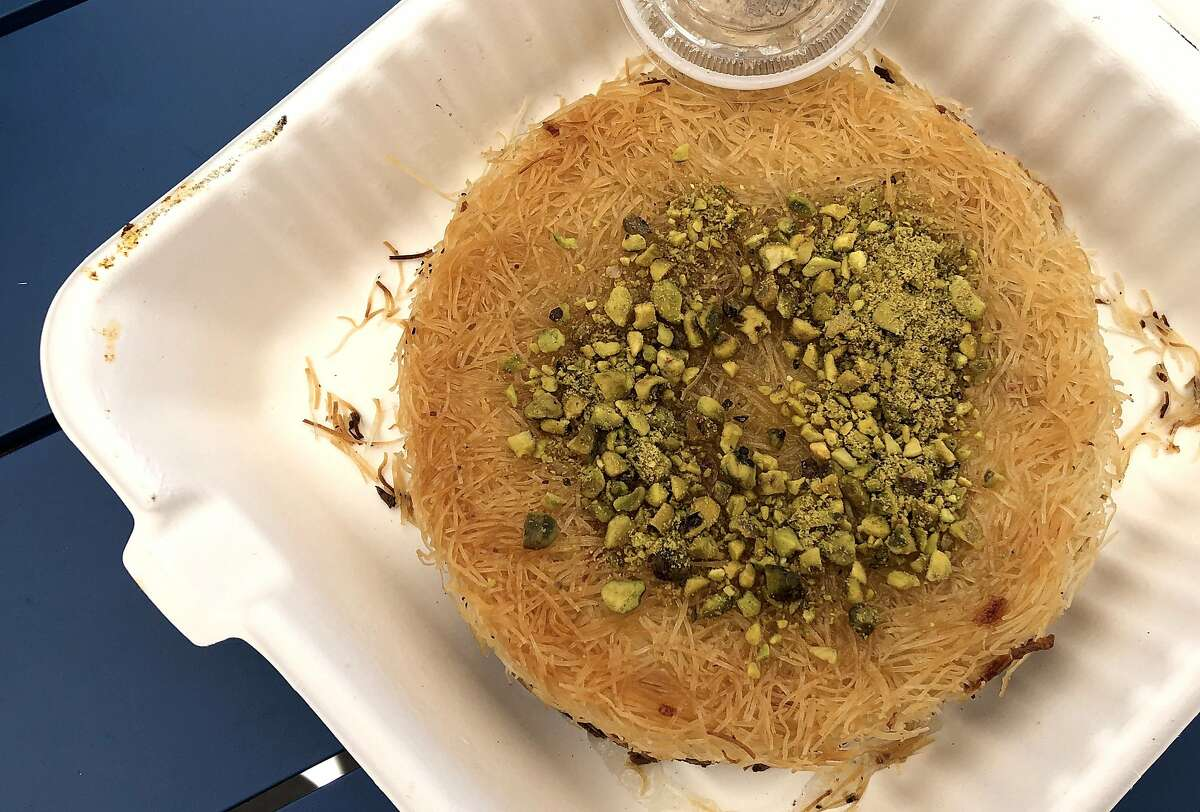 Knafeh, a dessert of sweet cheese and shredded phyllo, at Manakish in Walnut Creek.