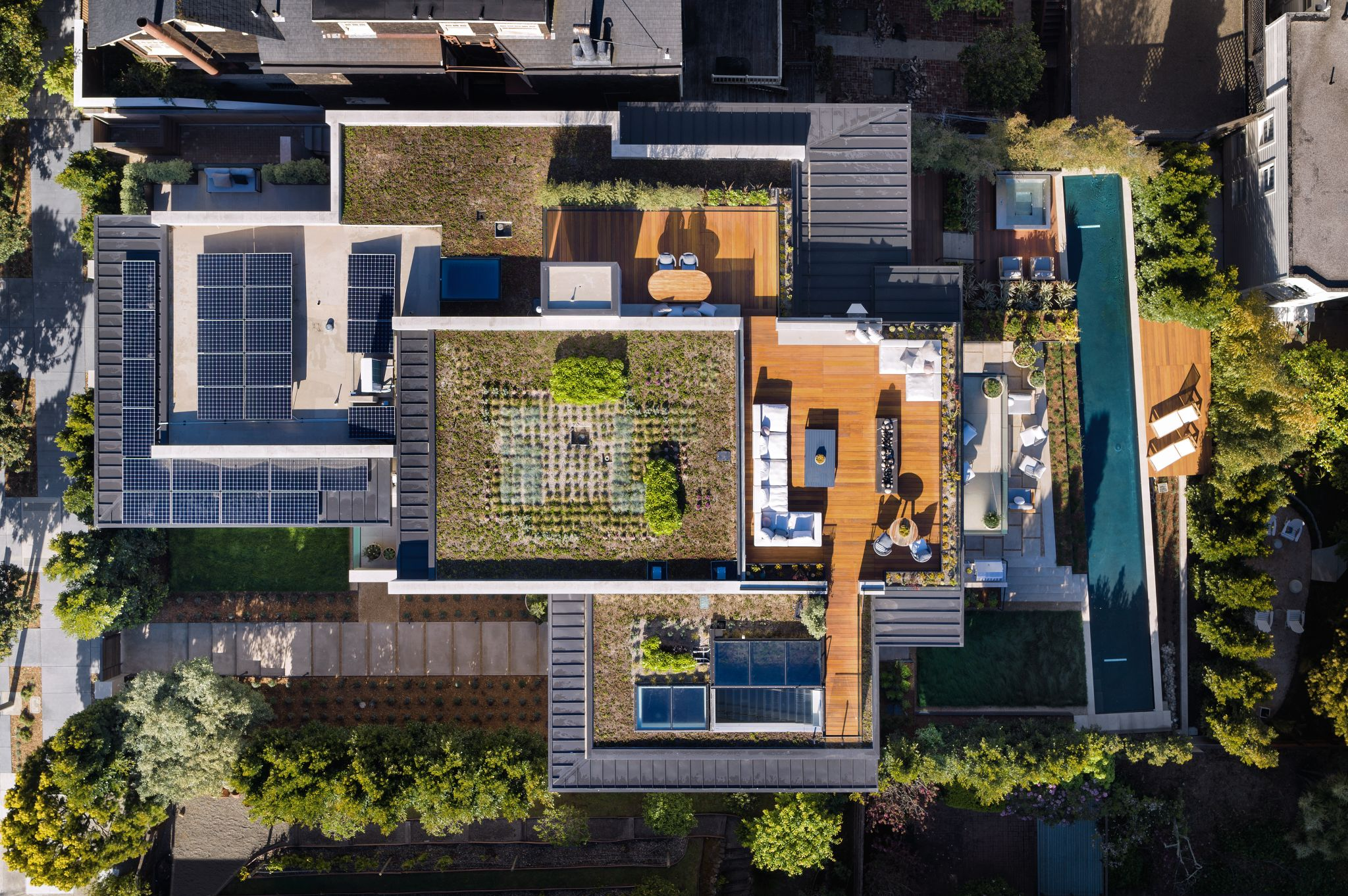 Chasing LEED Platinum certification, architects included a solar array that provides approximately 28% of the home's energy demand.