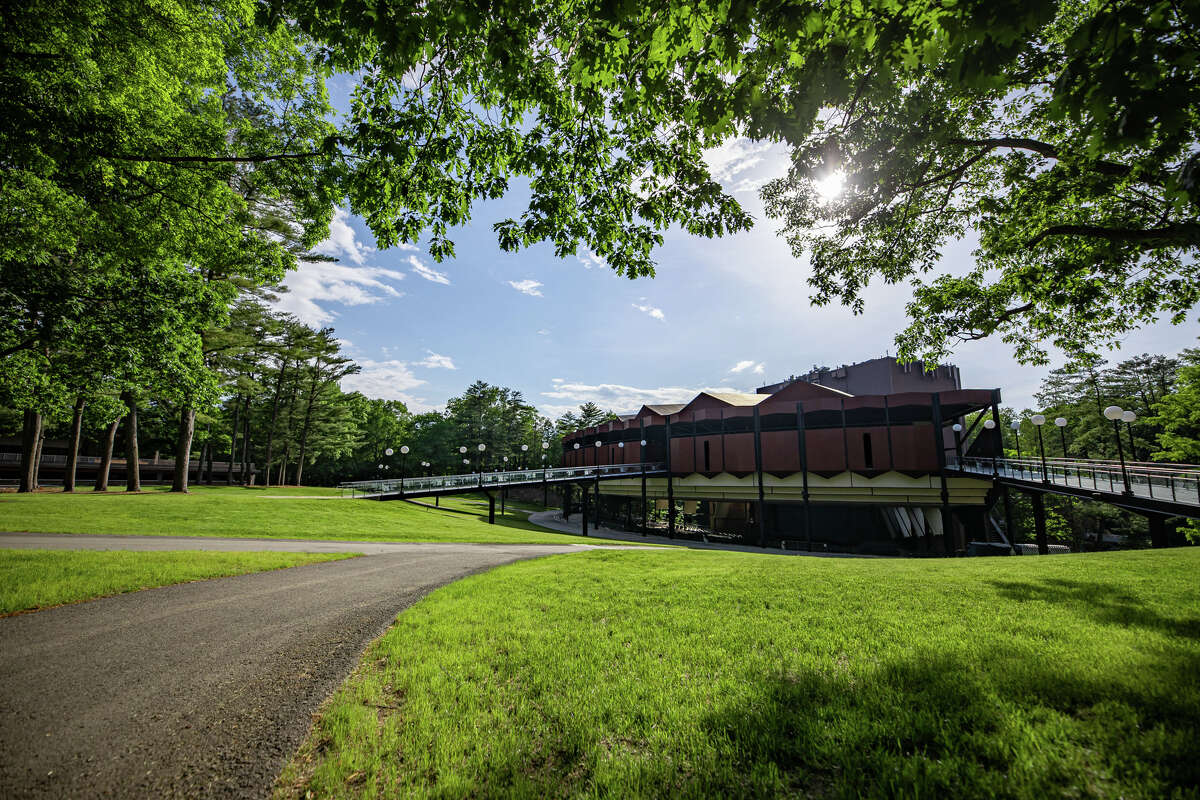 The Saratoga Performing Arts Center's grounds and amphitheater sparkle in springtime sunshine. SPAC's clasical programming began last weekend; its Live Nation concert series starts Friday, June 18, 2021, with a show by Phish frontman Trey Anastasio. (Provided photo.)
