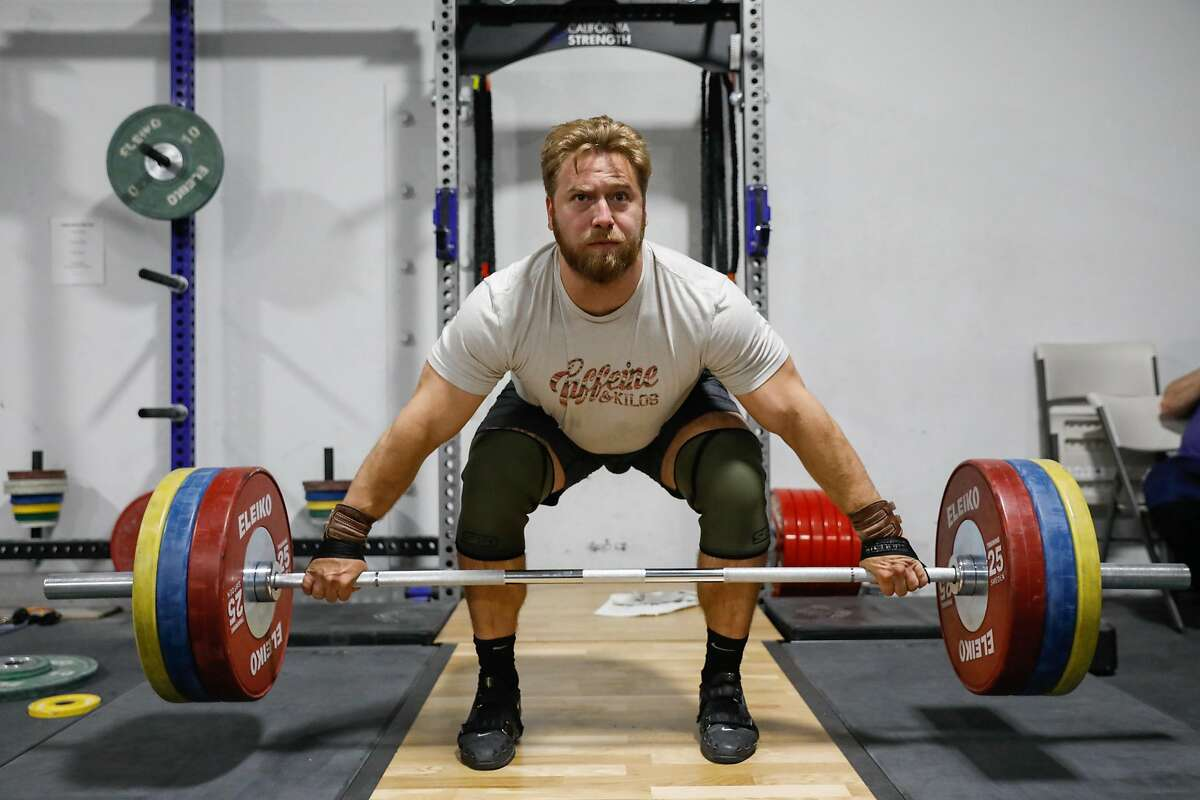 Wes Kitts, a member of the U.S. Olympic weightlifting team, trains at California Strength in San Ramon.