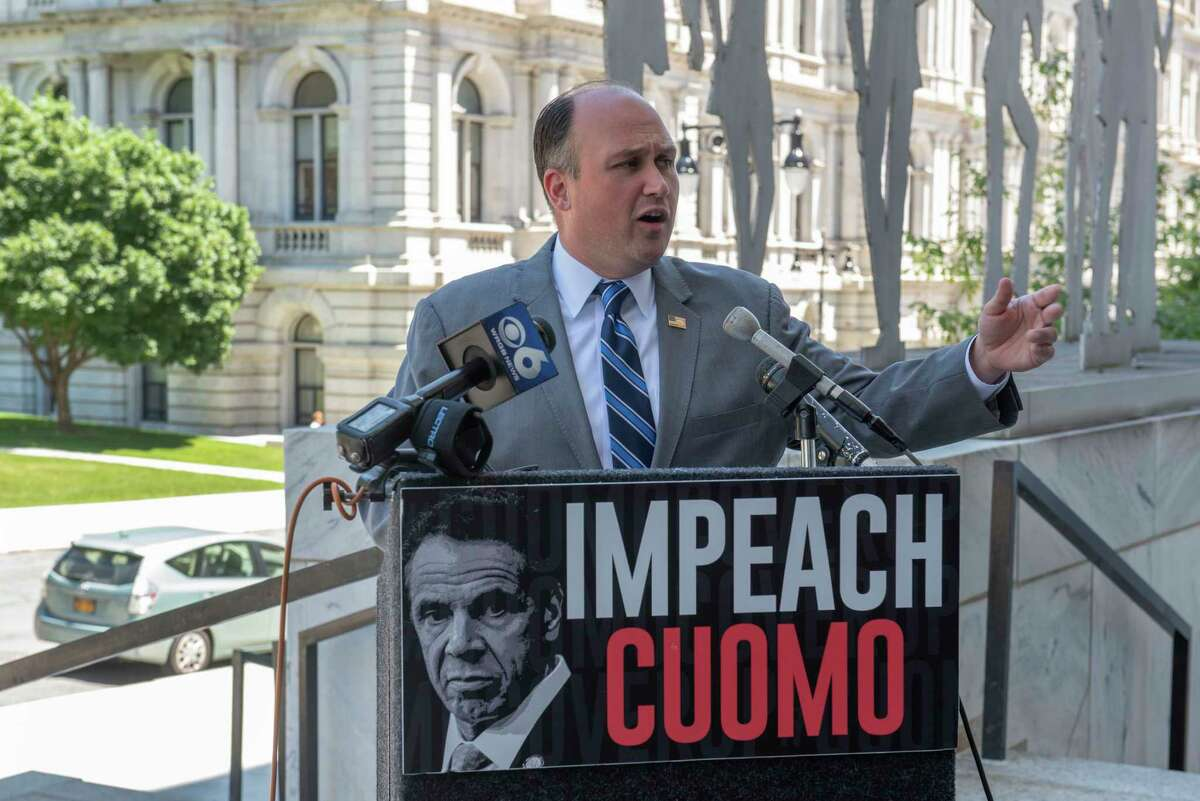 New York Republican Chairman Nick Langworthy expresses his disapproval with lawmakers for ending session and leaving town before concluding their impeachment investigation into Governor Andrew Cuomo outside the Legislative Office Building on Thursday, June 17, 2021 in Albany, N.Y. (Lori Van Buren/Times Union)