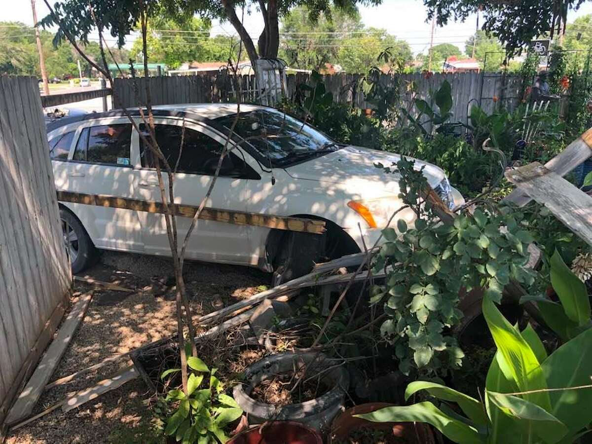 A stolen car crashed into Michael Quintanilla's backyard on June 16, 2021, destroying the fence and garden.