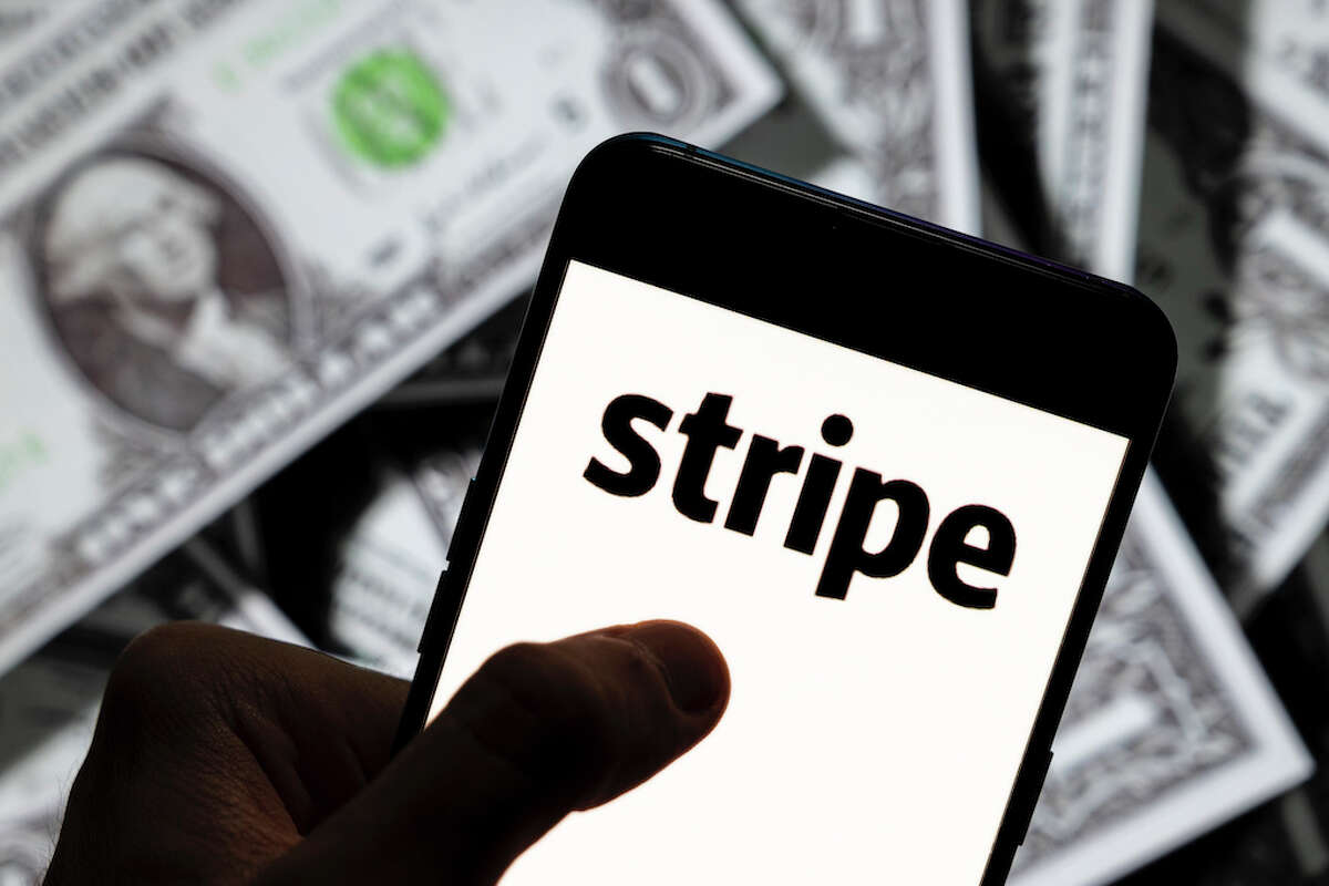 Photo illustration of the logo of online payment platform Stripe seen displayed on a smartphone.