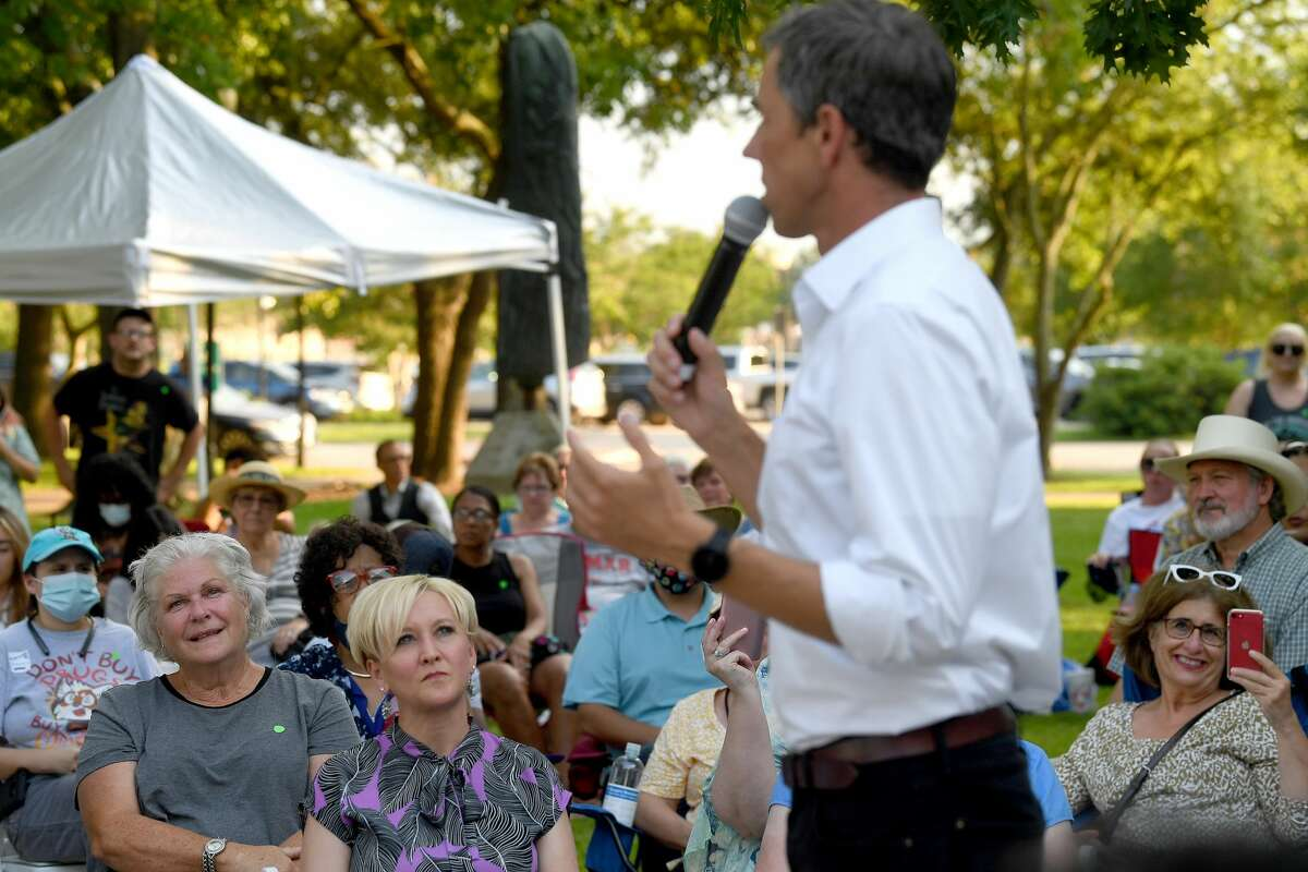 """Beto O'Rourke addresses the crowd during a """"Voting Rights and Demoracy Rally"""" in Beaumont Wednesday. O'Rourke and others spoke to the need to get out the vote and rally at the grass roots level to defeat the bills which would place restrictions on voter registration and elections in Texas, which already has some of the most restrictive voting measures in place in the country. Photo made Wednesday, June 16, 2021 Kim Brent/The Enterprise"""