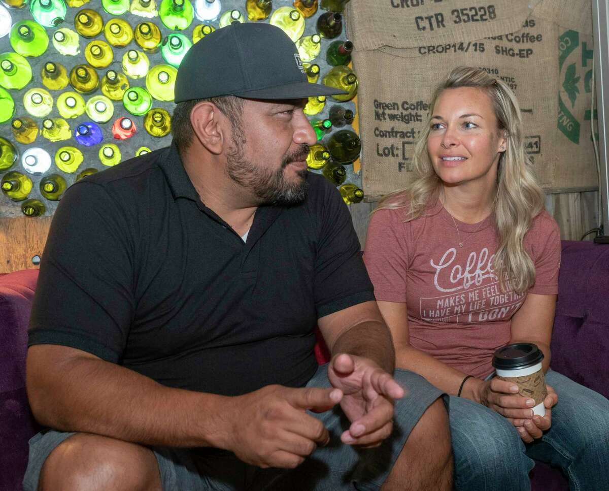 Marcy and Carlos Madrid, new owners of Brew St., talk about following their faith to purchase the restaurant 06/17/2021. Tim Fischer/Reporter-Telegram