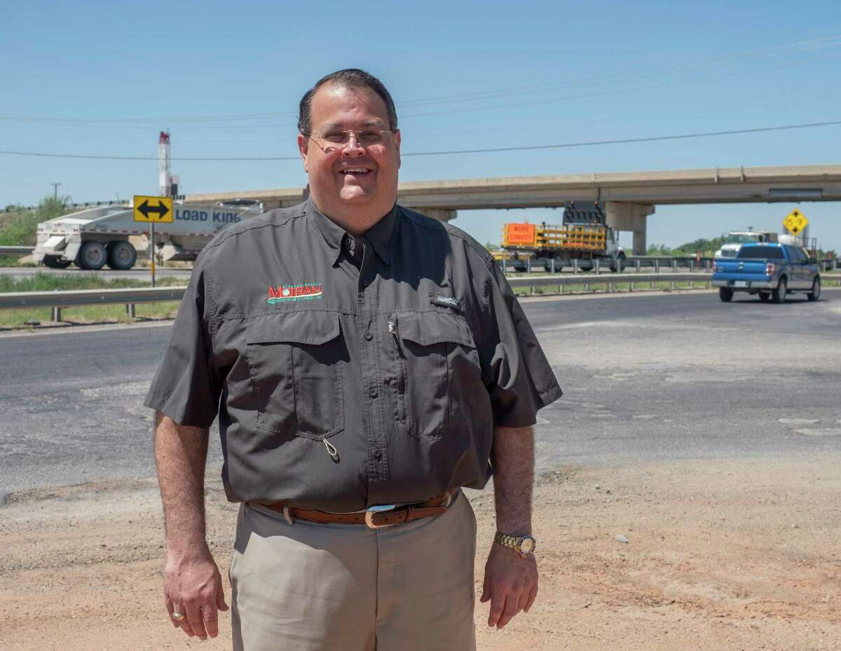 James Beauchamp with MOTRAN, by the S. Garfield overpass on I-20. 06/17/2021. Tim Fischer/Reporter-Telegram