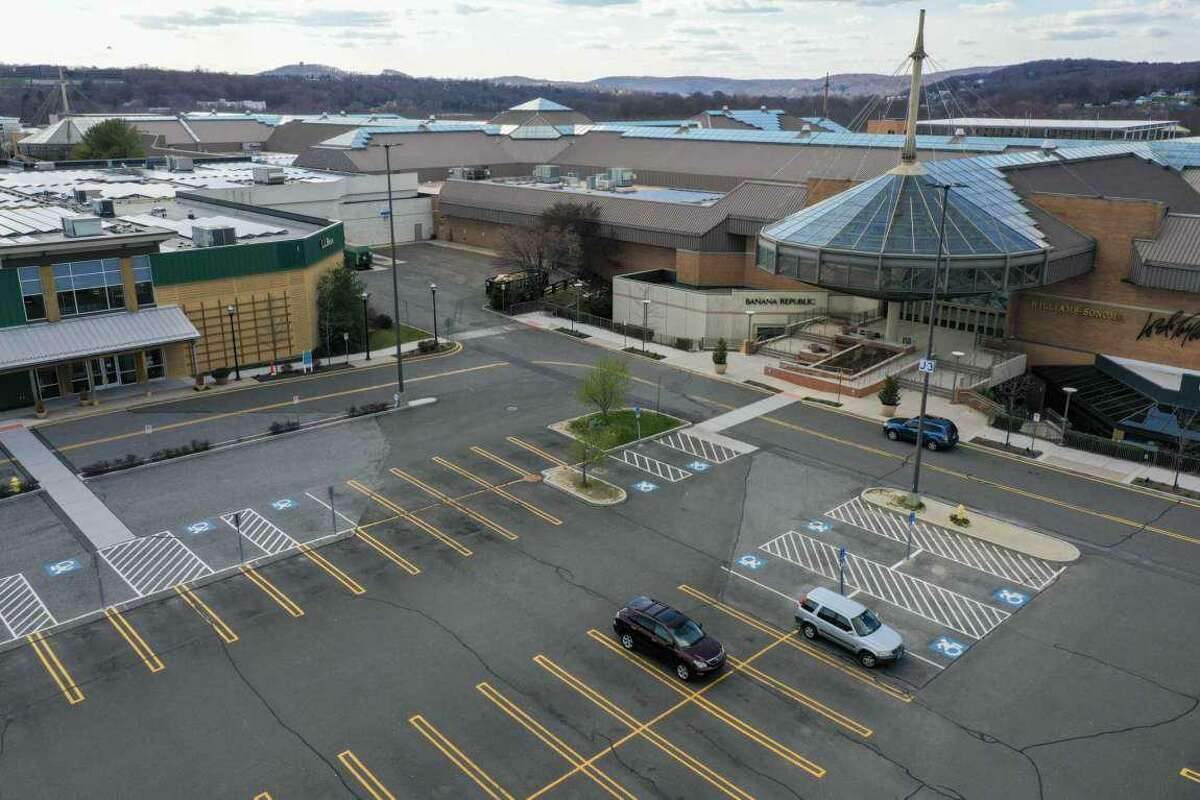 An aerial view of the front of the Danbury Fair mall.