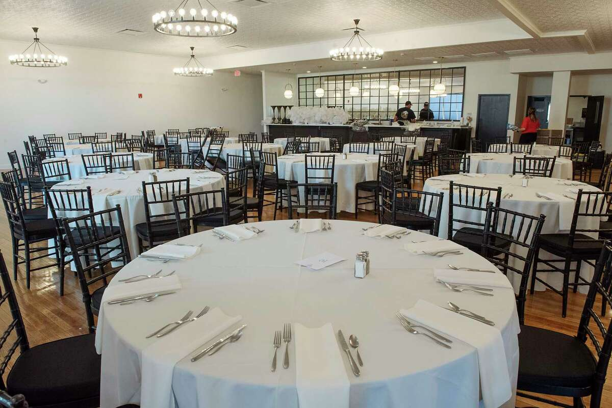 Interior of The Edison at 132 North Broadway on Thursday, June 17, 2021 in Schenectady, N.Y. The banquet facility, which once housed the Schenectady Gazette's printing press, will hold its first ever event Friday, a wedding for a young couple, who had to postpone their nuptials twice before because of the COVID restriction. (Lori Van Buren/Times Union)