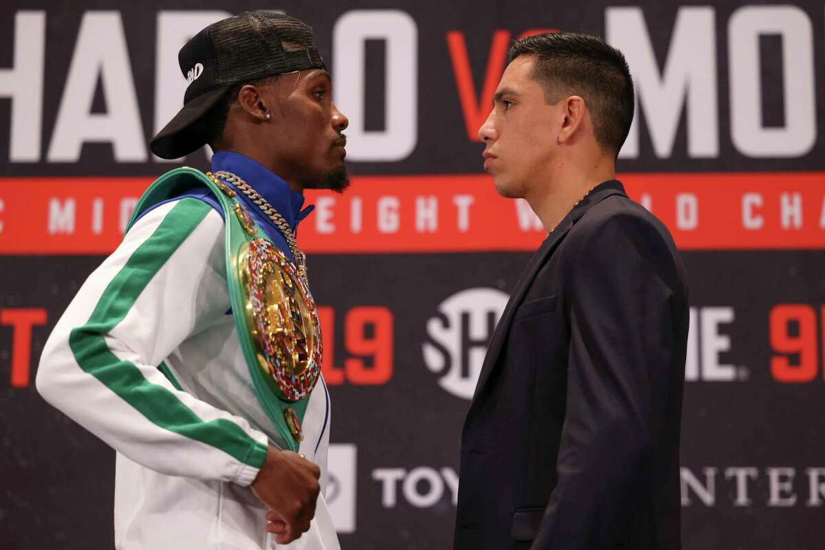 Jermall Charlo and Juan Macias Montiel face off at a press conference before their fight on Thursday, June 17, 2021 at Hilton-Americas in Houston.