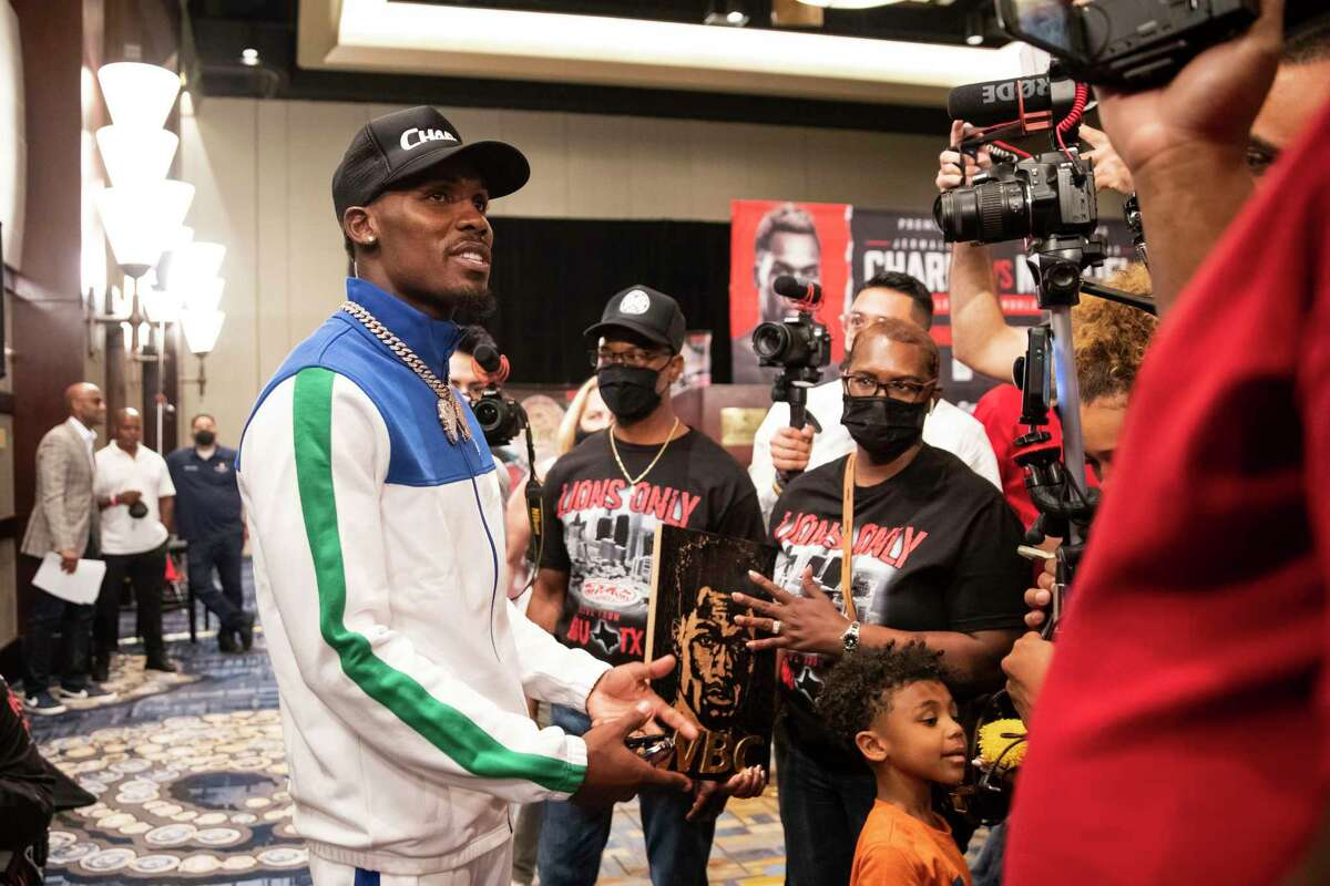 Jermall Charlo takes questions after a press conference the week of his fight against Juan Macias Montiel on Thursday, June 17, 2021 at Hilton-Americas in Houston.