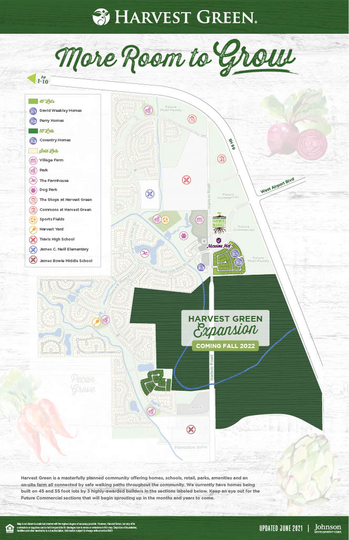 Johnson Development has closed on 630 acres adjacent to Harvest Green that will add approximately 1,400 homes to the community.