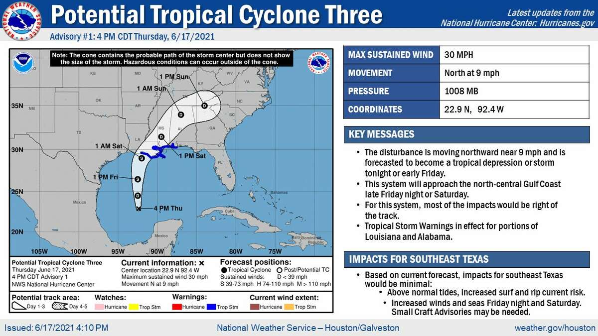 4 p.m. advisory for Potential Tropical Cyclone Three.