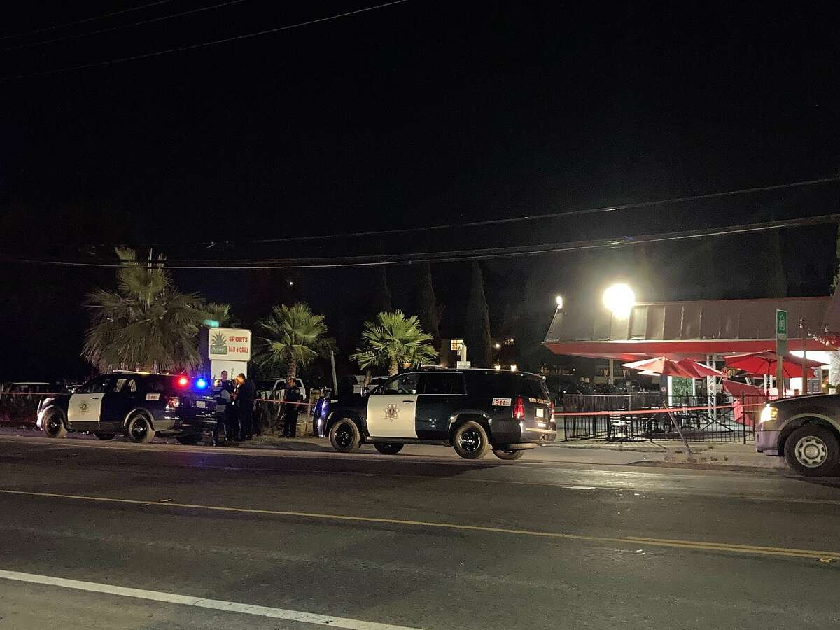 San Jose police investigate the scene of a fatal crash involving a suspected drunken driver at the outdoor dining area of the Agave Sports Bar & Grill in San Jose on Friday, June 11, 2021.