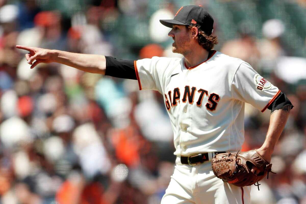 San Francisco Giants' starting pitcher Kevin Gausman looks for a called third strike in 7th inning while playing Arizona Diamondbacks in MLB game at Oracle Park in San Francisco, Calif., on Thursday, June 17, 2021.