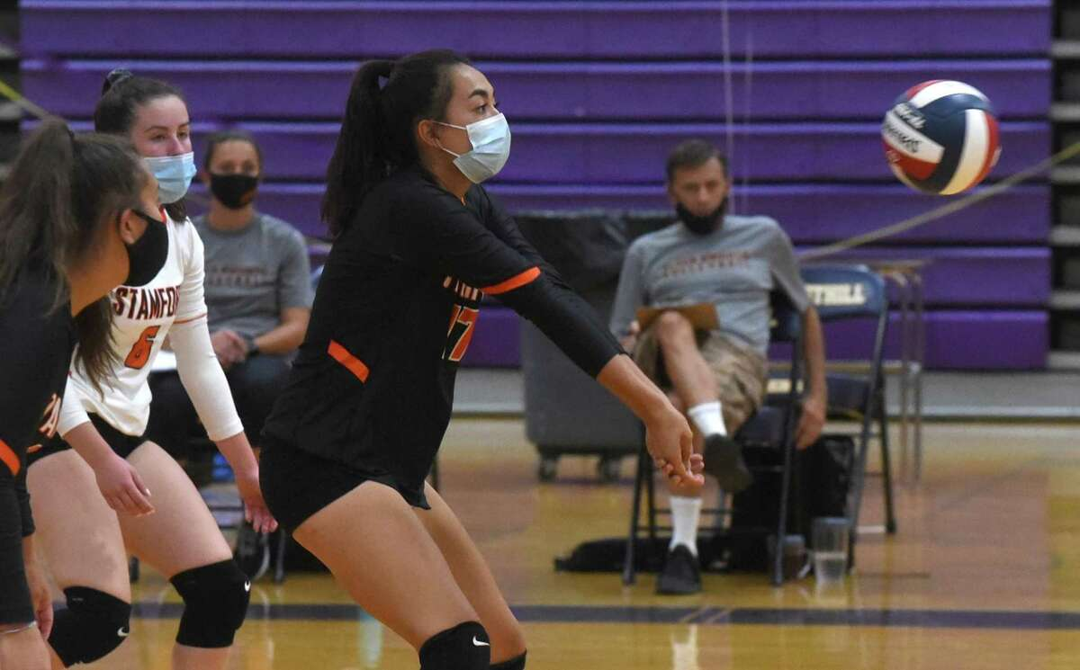 Stamford's Kim Saunders keeps the ball up during the Knights' season-opening match at Westhill in October.