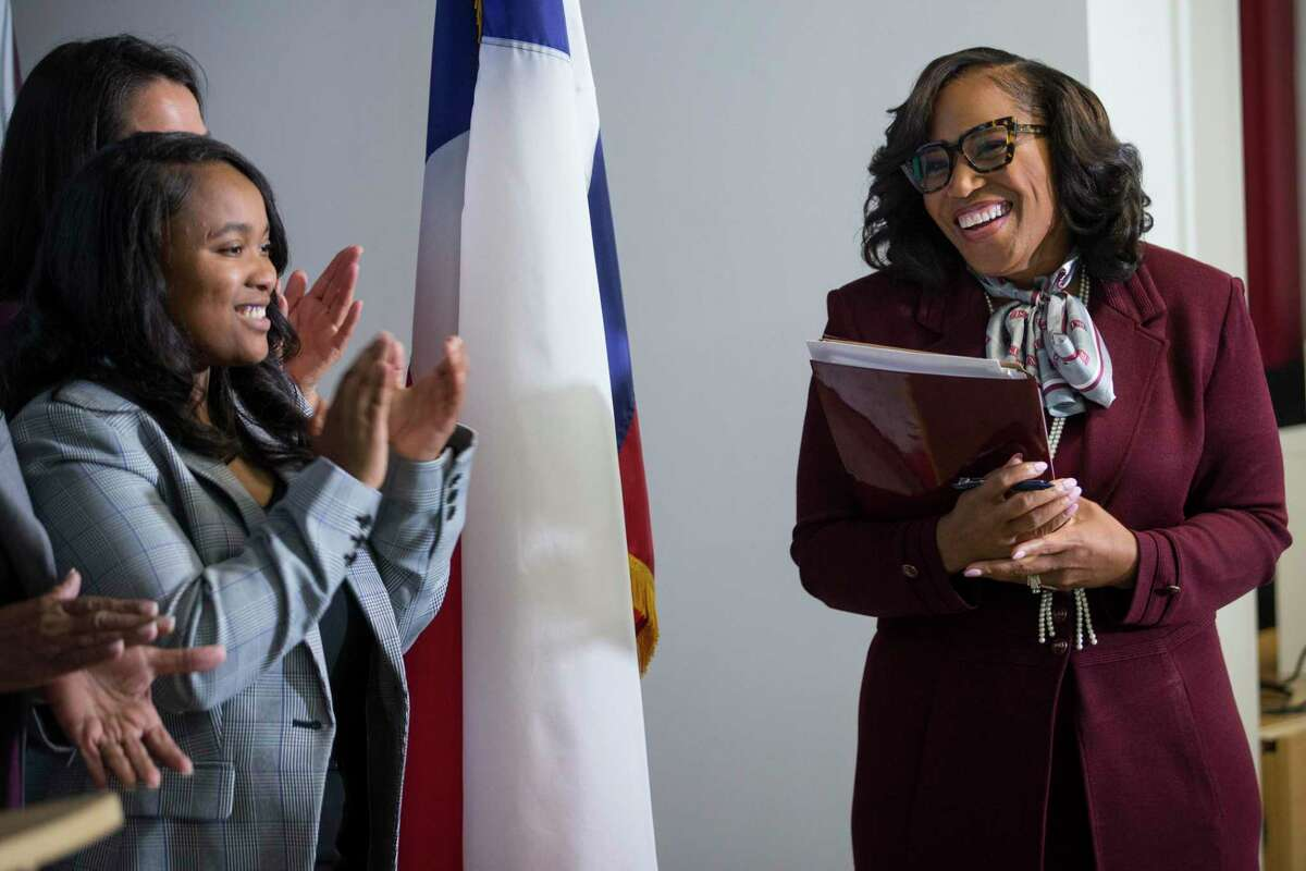 Texas Southern University President Dr. Lesia L. Crumpton-Young is introduced as the school's 13th president during a news conference Thursday, June 17, 2021 in Houston. Crumpton-Young comes from Texas A&M, where she served as associate provost.