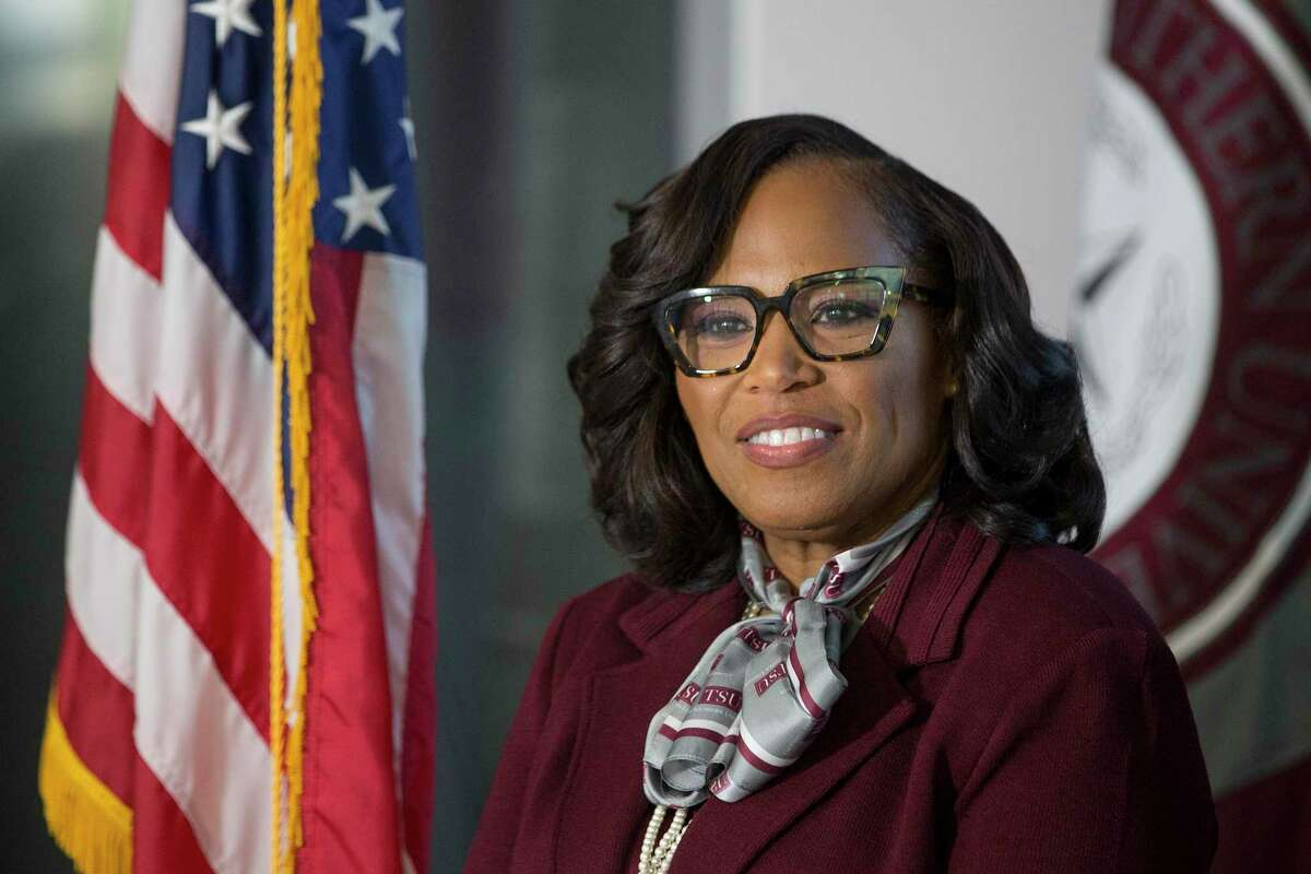 Dr. Lesia L. Crumpton-Young is introduced as Texas Southern's 13th president during a news conference Thursday, June 17, 2021 in Houston. Crumpton-Young comes from Texas A&M University, where she served as associate provost