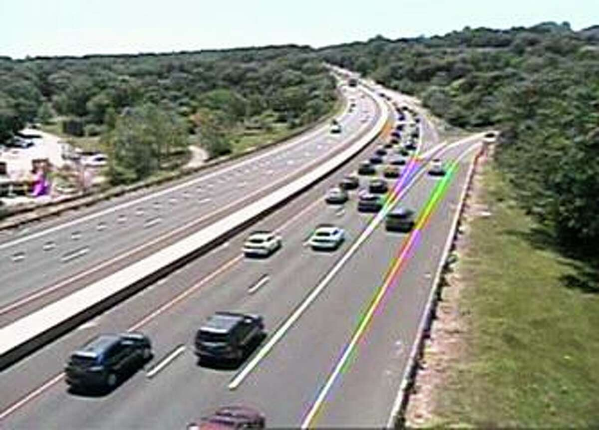 The traffic camera showing Route 15 south near Exit 53 in Stratford, Conn., on Thursday, June 17, 2021.