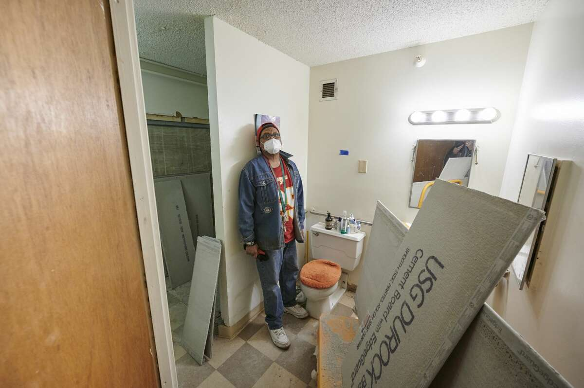 Trent Tyler has lived in Gabriel Tower in Kansas City for four years. His bathroom is being renovated due to mold damage.