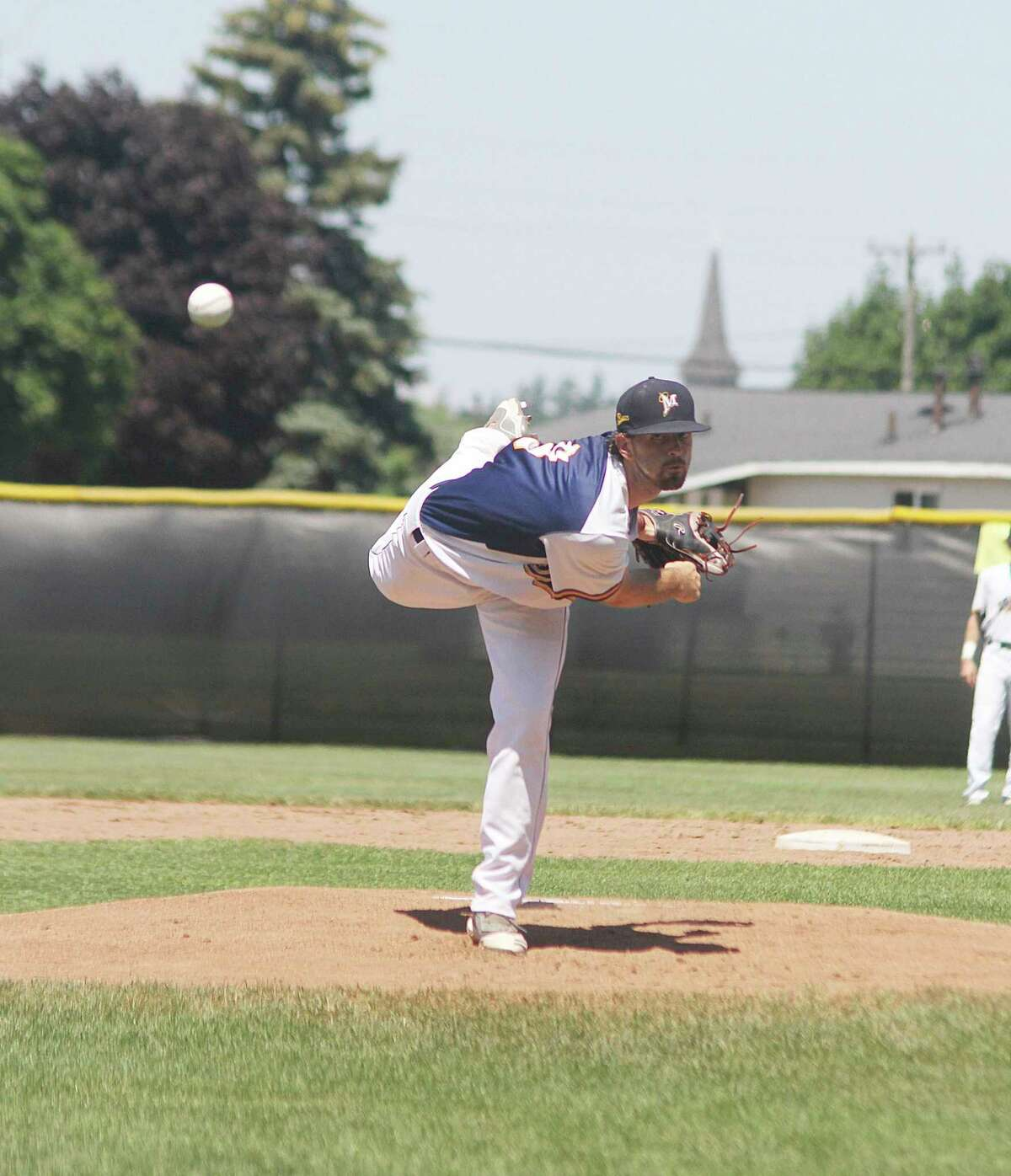 Manistee Saints' player-manager Roddy MacNeil picked up the win Wednesday against the Grand Rapids Brewers. (News Advocate file photo)