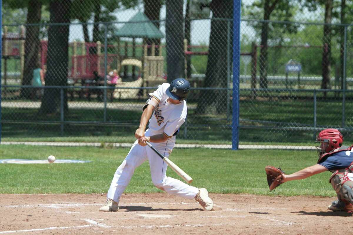 The Manistee Saints' Brett Zimmerman blasted a game-winning, two-run homer in the top of the eighth inning on Wednesday against the Grand Rapids Brewers. (News Advocate file photo)