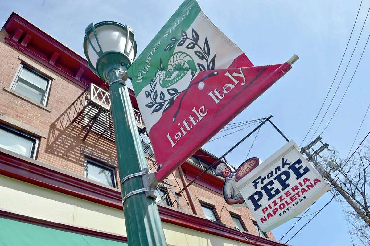 New Haven, Connecticut - Friday- April 9, 2021: Frank Pepe Pizzeria Napoletana on Wooster Street in New Haven.
