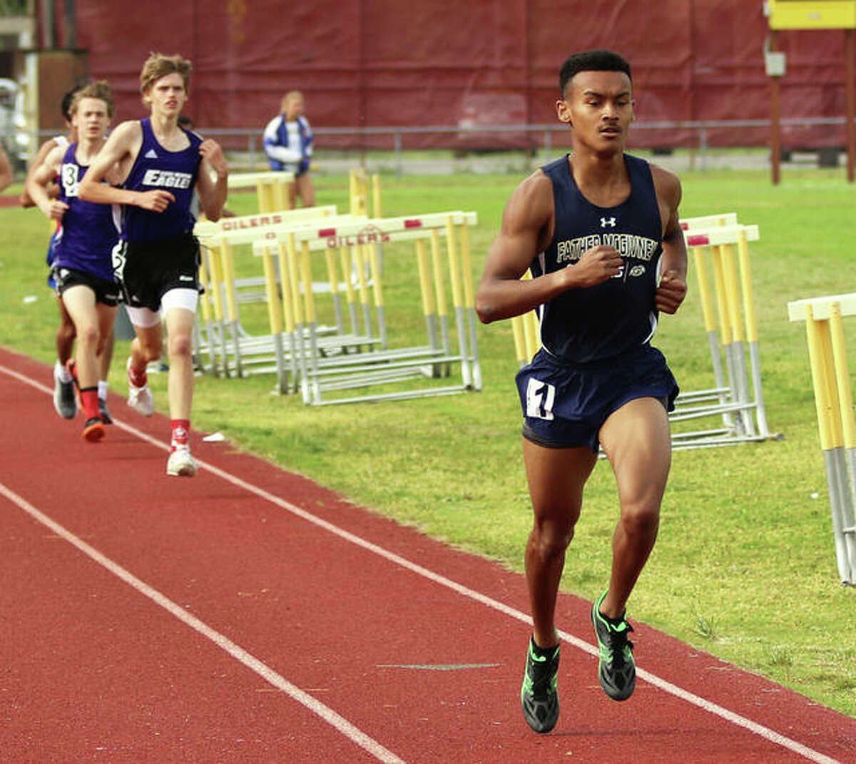Father McGivney's Tyler Guthrie finished ninth in the 3200 in a time of 9:59.67 Thursday at the IHSA Class 1A Boys State Track Meet at Eastern Illinois University.